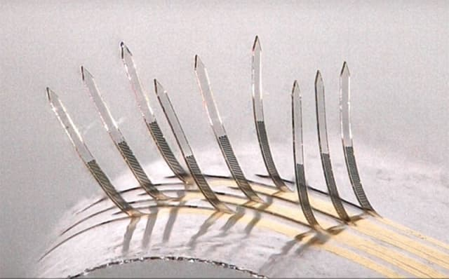 Image of e-whiskers as air is blown from beneath them.