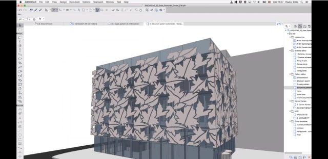 The redesigned Curtain Wall tool, which allows for more complex repeating patterns, is one of the biggest draws of ARCHICAD 22. (Image courtesy of GRAPHISOFT.)