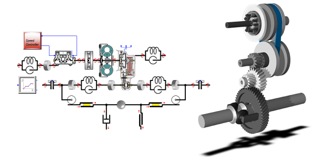Figure 1.System model (left) shows a whole powertrain system, with an integrated continuously variable transmission (CVT). The 3D-visualization (right) shows a part of this system simulated. (Image courtesy of ESI Group.)