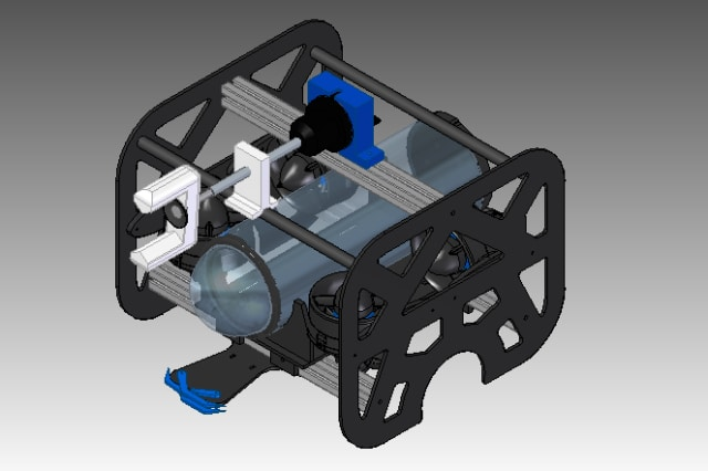 Sparkman High School's 2017 MATE ROV named Sylvia, which was modeled in Solid Edge.