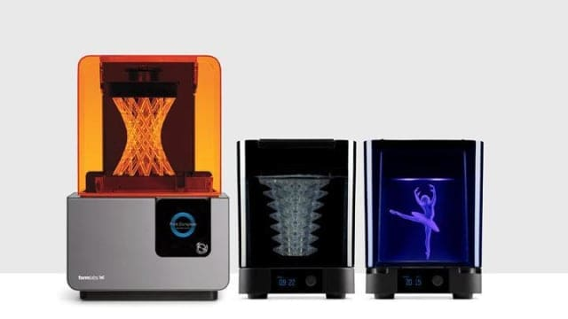 At left, the Form 2 3D printer, followed by the Form Wash and Form Cure systems. (Image courtesy of Formlabs.)