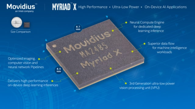 The Movidius Myriad X is a virtual processing unit (VPU) that can process over 4 trillion operations per second (TOPS). Movidius was founded in 2005 to design and produce low-power processor chips for deep learning and computer vision tasks. (Image courtesy of Intel.)