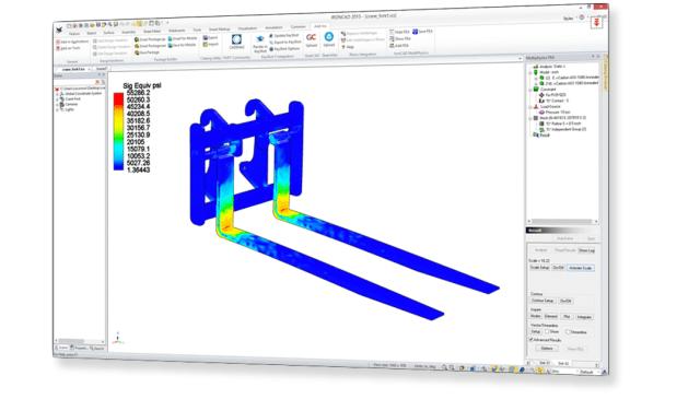MPIC simulation of fork lift stress. (Image courtesy of IronCAD.)