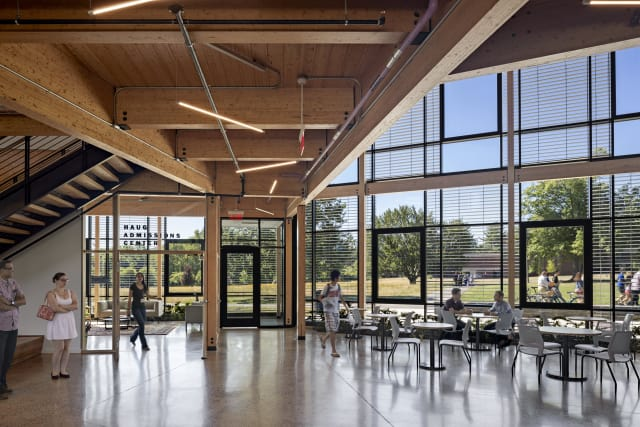Students and faculty enjoy Hampshire College's R.W. Kern Centerlounge, recently accredited for its eco-friendly and livable design. (Image courtesy of AGC Glass North America.)