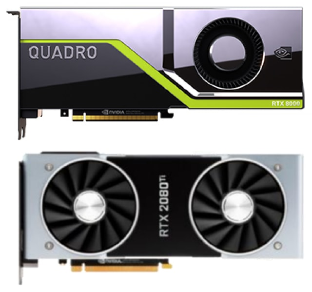 The NVIDIA Quadro RTX 8000 (top). and the NVIDIA GeForce RTX 2080 Ti (bottom). (Image courtesy of NVIDIA.)