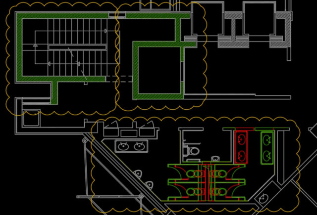 DWG Compare, a feature of AutoCAD 2019for Mac, displays andcolor-codes the differences between revisions of drawings, allowing users to easily identifychanges. (Image courtesy of Autodesk.)