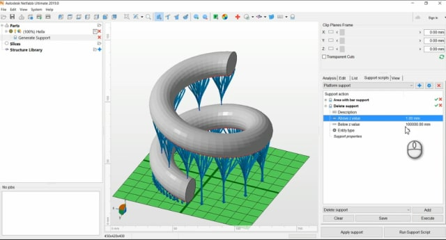 "Netfabb 2019 allows users to ""replay"" support actions that have been applied to a part. (Image courtesy of Autodesk.)"
