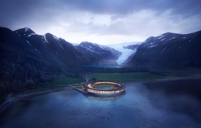 Svart is designed to be an energy positive hotel in that it will generate more energy than it uses over the course of 60 years. (Image courtesy of Snøhetta/Plompmozes.)