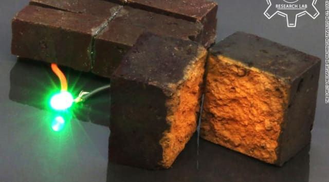 Researchers at Washington University in St. Louis transformed a conventional brick into an energy storage device that can power an LED light. (Image courtesy of Washington University/D'Arcy Research Lab.)
