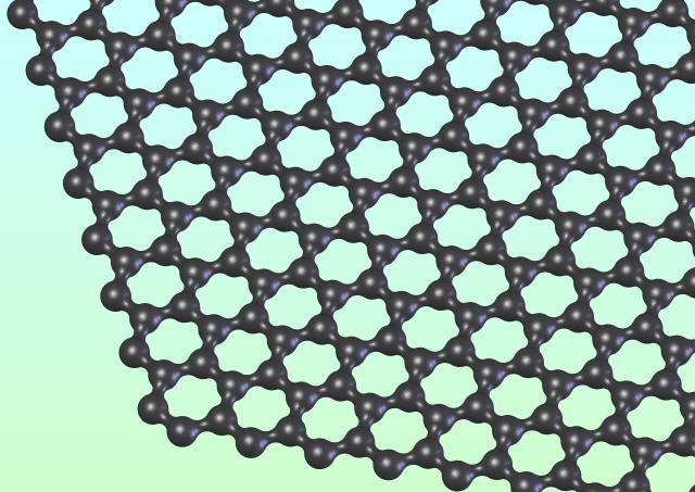 Graphene is a single atom thick layer of carbon bonded in a hexagonal lattice.