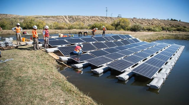 Figure 1. A Floating PV array under construction in Walden, Colo. (Image courtesy of NREL.)