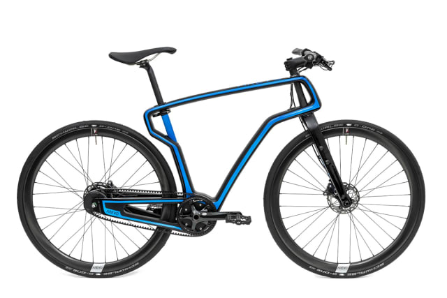 This unique bike features a cantilever frame 3D-printed using carbon fiber reinforcement from Arevo Labs. (Image courtesy of Arevo Labs.)