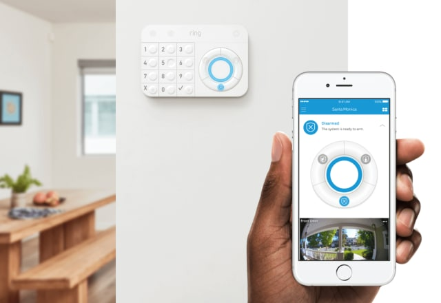 Keypad and app for the Ring Protect security system. (Image courtesy of Ring.)