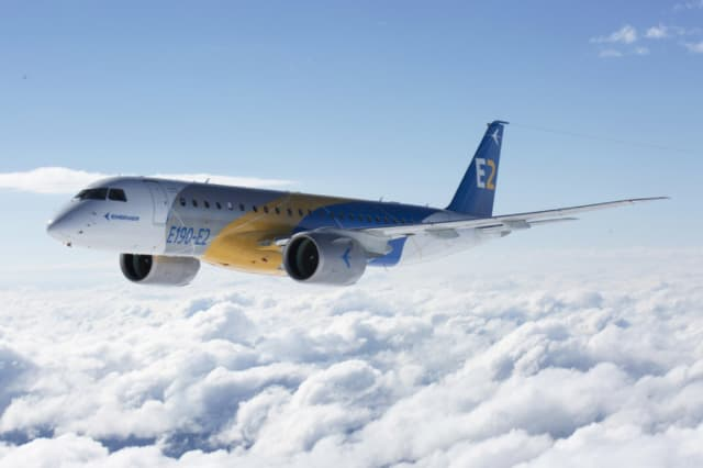 The Embraer E190-E2's first flight gained it a trifecta of on-time certifications. (Imaged courtesy of Embraer.)