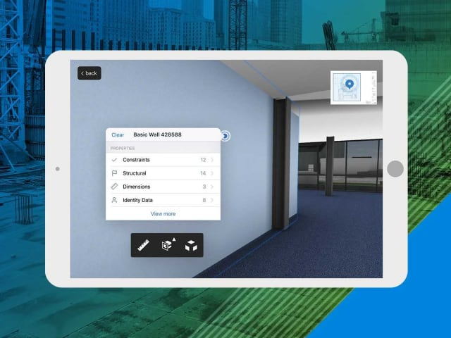 An example of PlanGrid BIM's 3D view feature displayed on an iPad screen. (Image courtesy of PlanGrid.)