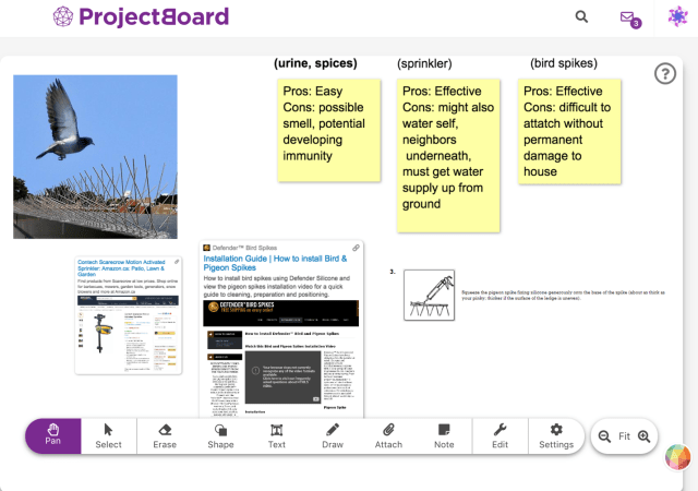 Part of my Project Board case study: Operation Racoon Removal, with the editing toolbar at the bottom.