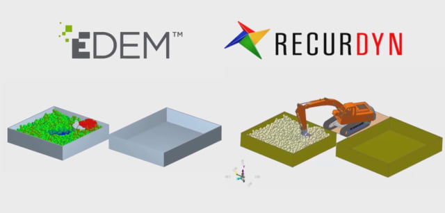 Simulation partnership introduces realistic bulk material behavior to heavy-equipment simulation. (Image courtesy of EDEM.)