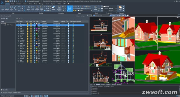 The Layer Properties Manager palette in ZWCAD 2019. (Image courtesy of ZWSOFT.)