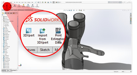 3DXpert for SOLIDWORKS 15includes an enhanced bidirectional link with 3DXpert. (Image courtesy of 3D Systems.)