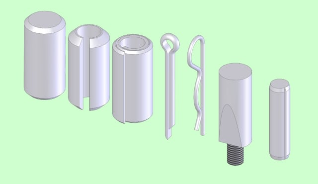 A selection of pins, from left to right, cowel pin, slotted pin, spiral pin, split pin, R-clip, cotter and grooved pin.