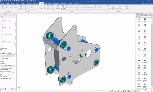 The ShrinkWrap utility in IronCAD includes new options like the ability to specify which faces to keep. (Image courtesy of IronCAD.)