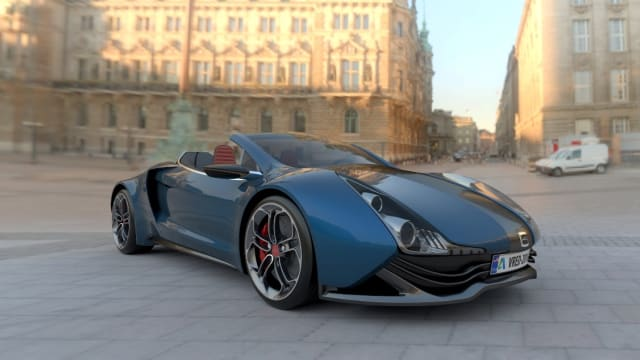 A new collaboration between ANSYS and Autodesk seeks to enable photorealistic automotive visuals, like the one pictured here. (Image courtesy of Autodesk.)