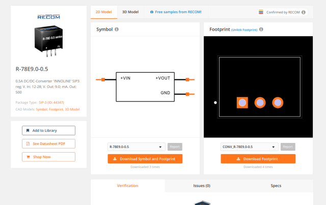 2D model of the RECOM R-78E9.0-0.5 DC/DC converter available on SnapEDA's component library. (Image courtesy of SnapEDA.)