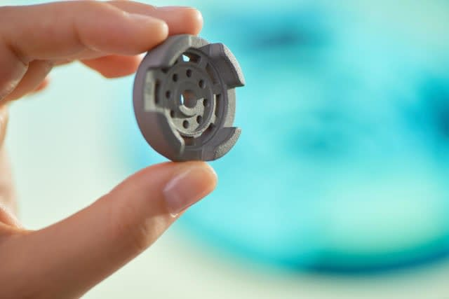 A metal part 3D printed with Metal Jet technology from HP. (Image courtesy of HP.)