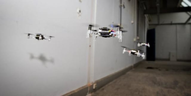 Drones explore the environment by flying into different areas. (Image courtesy of TU DELFT/MVLAB.)