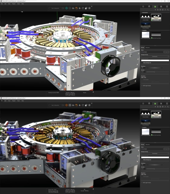 OpenGL rendering (top), similar to what is viewed in typical CAD viewports compared with RTX ray tracing (bottom).(SOLIDWORKS Visualize technical preview; Model courtesy of GrabCAD.)