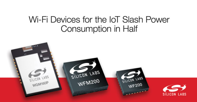 The unveiled WGM160P, WFM200, and WF200 Wi-Fi portfolio. Lower power consumption means more communication between IoT devices for nearly half the energy costs. (Image courtesy of Silicon Labs.)