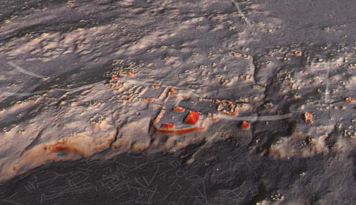 A representation of the Naachtun, Petén archaeological site, created by LiDAR data. (Image courtesy of Auld-Thomas and M. A. Canuto, 2018.)