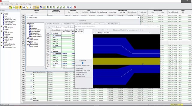 Screenshot of the differential pair viewer in EMA Constraint Manager for OrCAD. (Image courtesy of EMA Design Automation.)