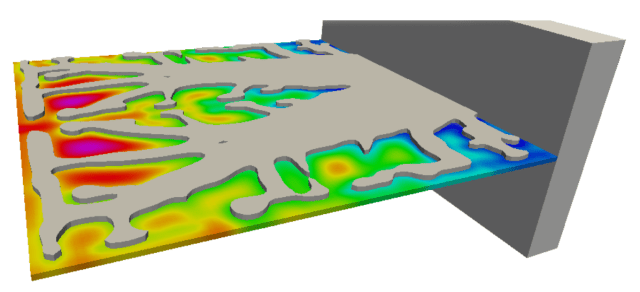 Heat flow in a heat sink as modeled by the Diabatix tool. (Image courtesy of Diabatix.).