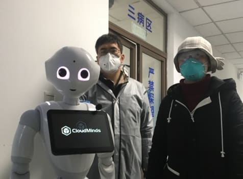 A Cloud Pepper robot at the Sixth People's Hospital in Shanghai, China, helps combat the coronavirus. (Image courtesy of Business Wire.)