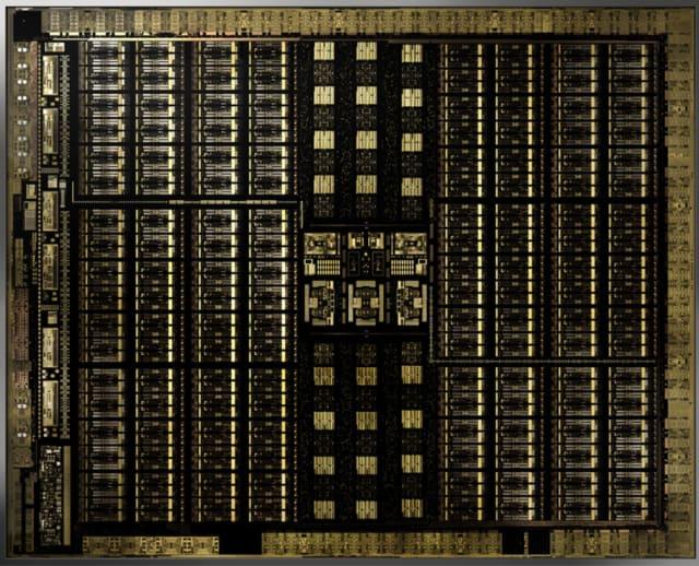 Die of the new NVIDIA Turing TU102 GPU. (Image courtesy of NVIDIA.)