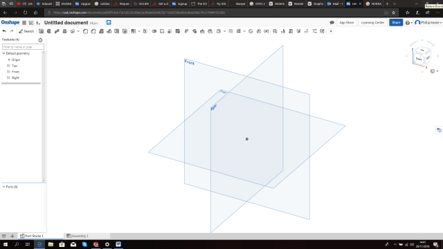 Figure 1. Onshape's opening workspace display.