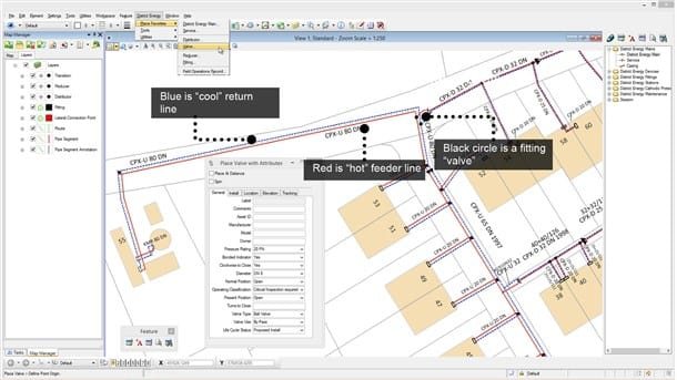 Designing district energy networks with Bentley OpenUtilities Map.(Image courtesy of Bentley Systems.)