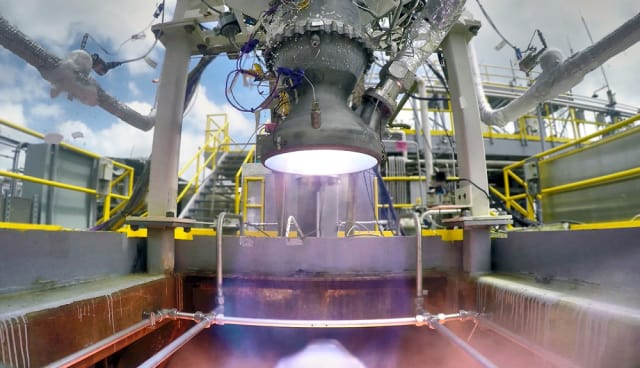 Relativity Space has completed the 100th hot fire test for its 3D-printed Aeon rocket. (Image courtesy of Relativity Space.)