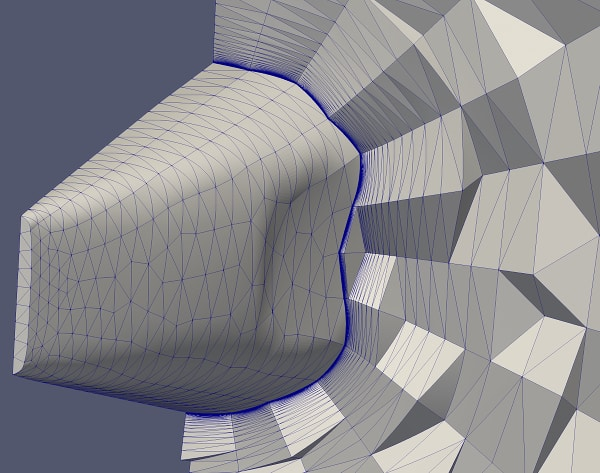 Project Geode's quadratic mesh around the aft end of NASA's High Lift Common Research Model. (Image courtesy of Pointwise.)