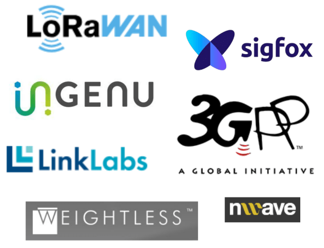 The wide range of LPWAN options. (Logo images courtesy of 3GPP, Ingenu, LinkLabs, LoRaWAN, Nwave, Sigfox andWeightless.)