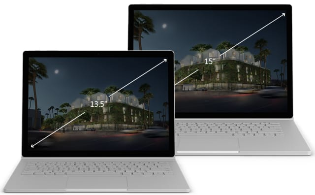 The Surface Book 2 comes in two sizes, 13.5in and 15in. (Image courtesy of Microsoft.)