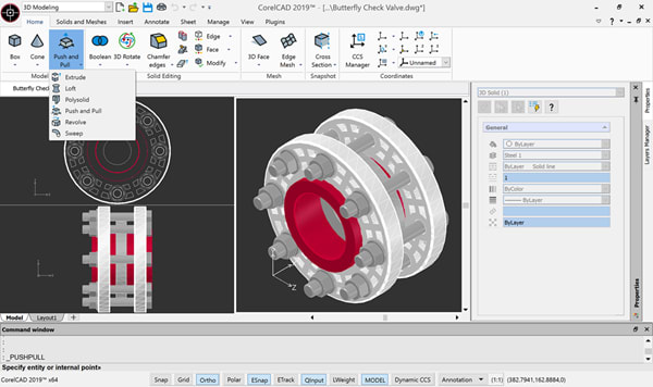 The new Push and Pull capability can modify 3D solid objects or bounded areas by extrusion. (Image courtesy of Corel.)