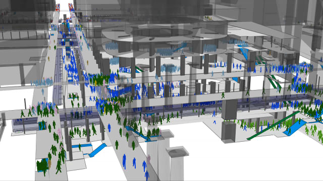 MassMotion's pedestrian simulation and crowd analysis tools in action. (Image courtesy of Oasys).