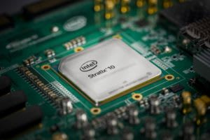 An Intel Stratix 10 FPGA used for Microsoft's Project Brainwave. (Image courtesy of Microsoft.)