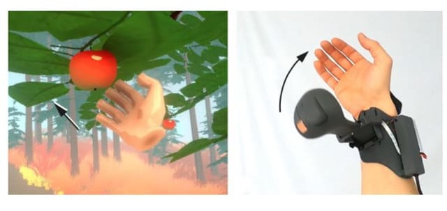 The Microsoft Haptic PIVOT tested in a virtual simulation. (Photo courtesy of Microsoft Research.)