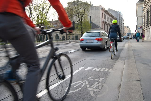 Bike lanes have beenproven to help reduce unsafe passing, and a new study shows which streets are most in need of that safety improvement. (Image courtesy of University of Waterloo.)