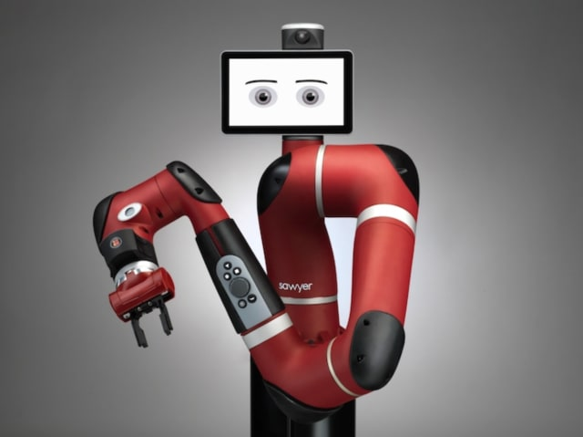 Sawyer, a collaborative robot from Rethink Robotics, can complete tasks determined to be impractical to automate with traditional industrial robots. (Image courtesy of Rethink Robotics.)