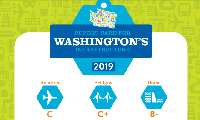 Part of an infographic that the Washington ASCE released on the ASCE's 2019 Washington State Report Card. Despite the fact that Dams is the state's highest-ranked category, that rankinghas actually decreased since the last report card in 2013. (Image courtesy of ASCE.)