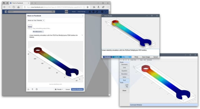 Share plot and simulation results on social media with FEATool. (Image courtesy Precise Simulation Ltd.)